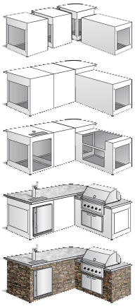 Outdoor living outdoor fireplace outdoor kitchens for Eldorado outdoor cabinets